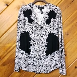 INC Concepts Shirt Black White Lace Long Sleeve